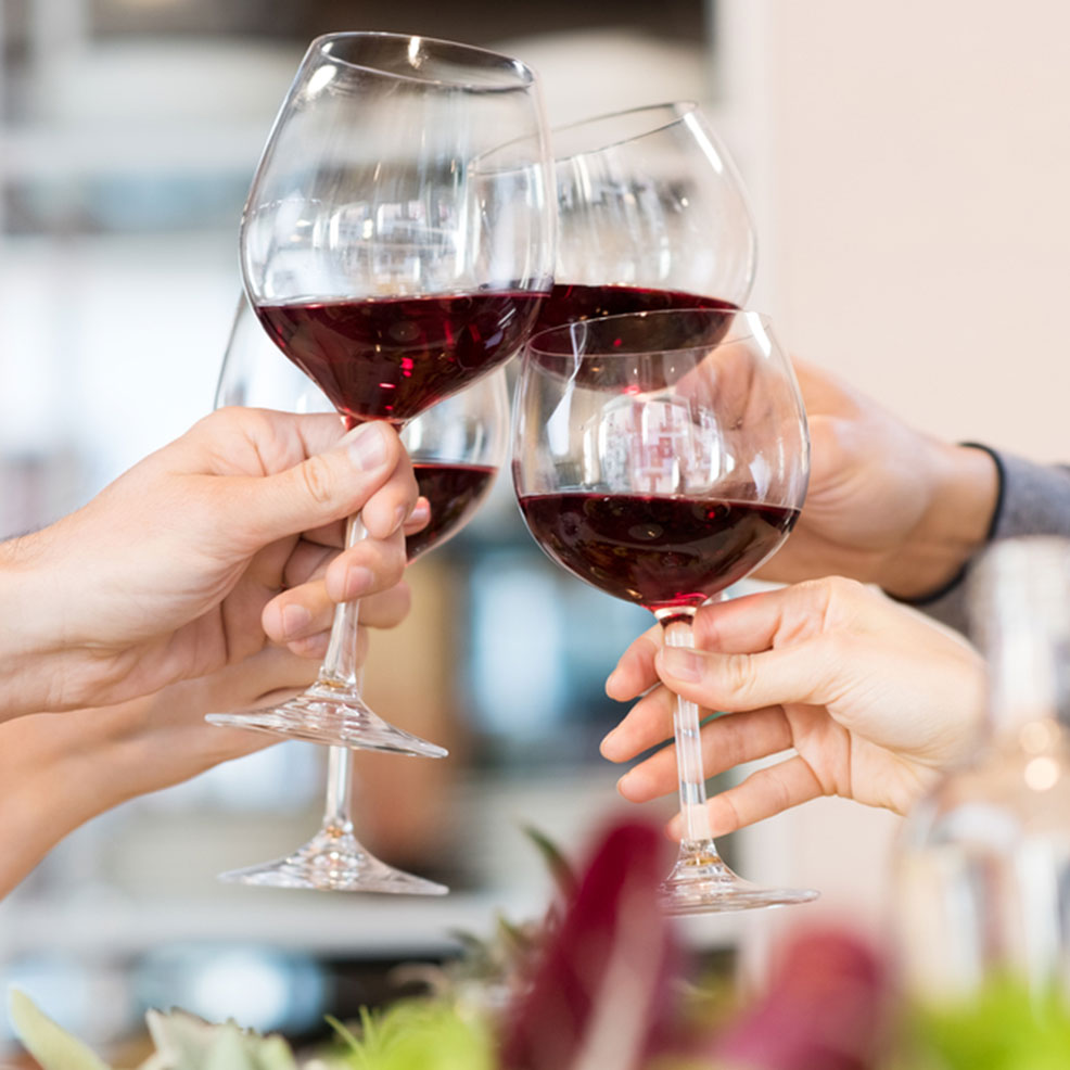 join our club image - hands with wine glasses raised in toast