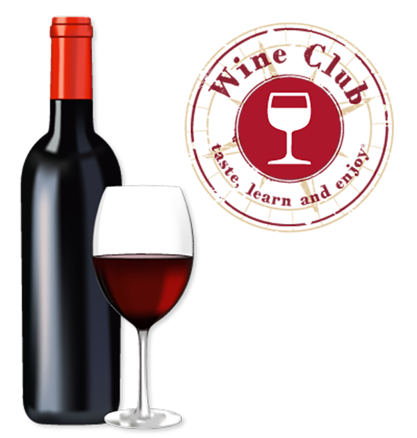 Discover Club wine bottle and glass