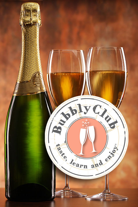 bubbly club logo with bottle and two glasses