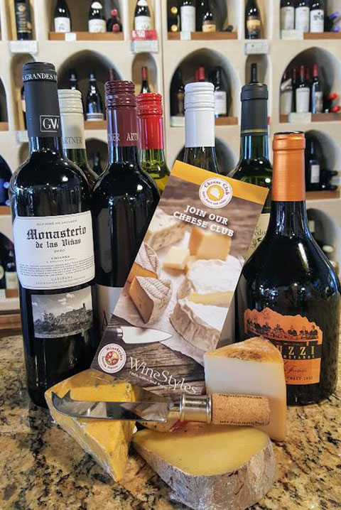cheese club brochure with cheeses