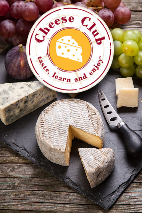 cheese club logo with cheeses