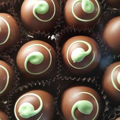 chocolate truffles with green swirl