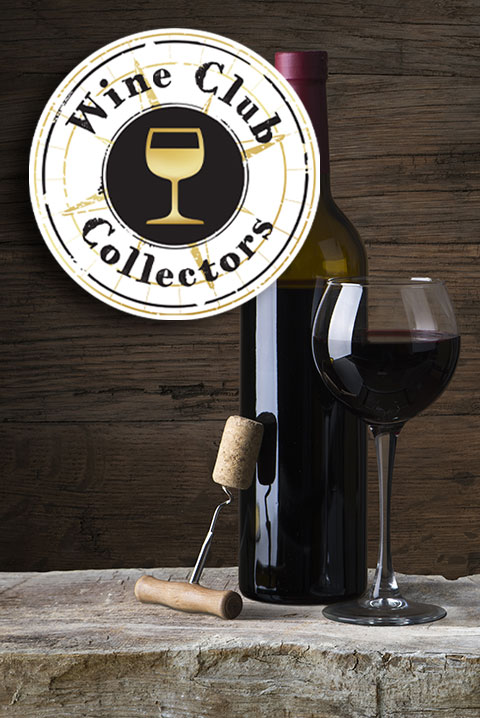 Collectors Club logo with wine bottle and glass