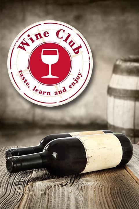 Wine Club logo with wine bottles