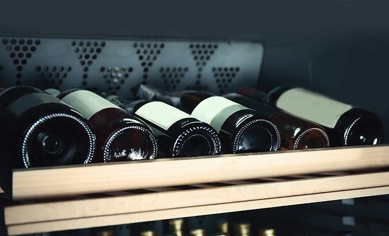 Wine bottles in cooler
