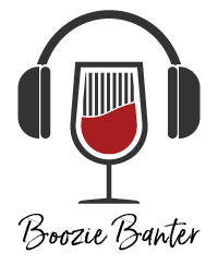 Boozie Banter wine glass with headphones