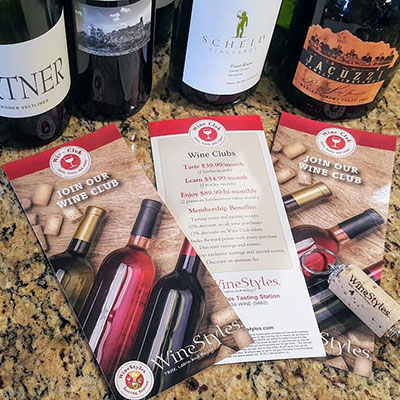 Wine Club brochure with wine bottles
